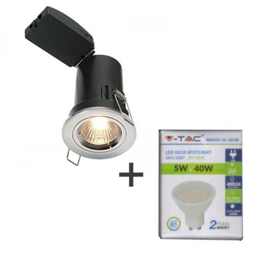 DEL Fire Rated Down Light V-TAC Brossé Satin Twist Lock + V-TAC 5 W Lampe DEL