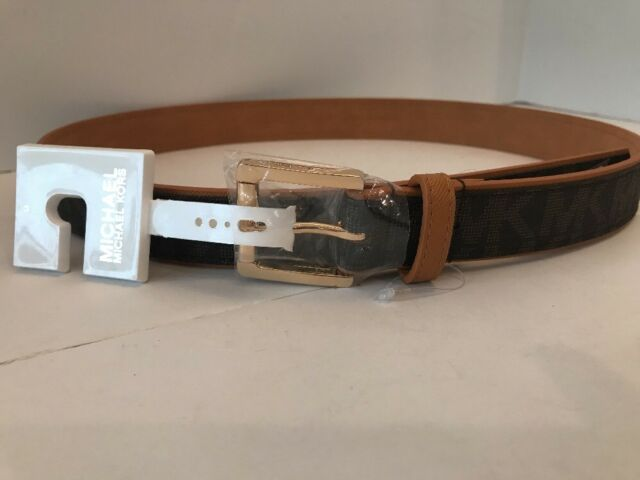 53f904e0f9ec Michael Kors Women s Luggage Chocolate MK Logo Belt SZ M 553734C NWT MSRP   48