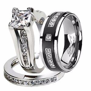 His Hers 2 Pcs Cz 925 Sterling Silver Black Titanium Wedding Ring