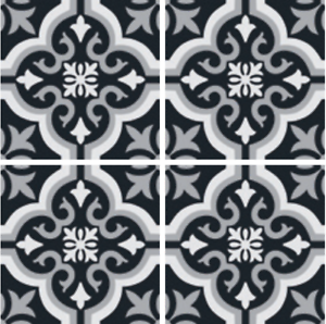 Details About 200 X Mm Forbes Encaustic Look Braga Black White Feature Wall Floor Tiles