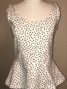 Ann-Taylor-Sleeveless-Career-Top-Blouse-Size-S-White-w-Olive-Green-Polka-Dots