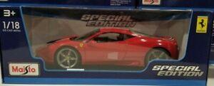 Ferrari-458-Speciale-Maisto-Special-Edition-1-18-escala-Diecast-exotico-de-coche-NUEVO