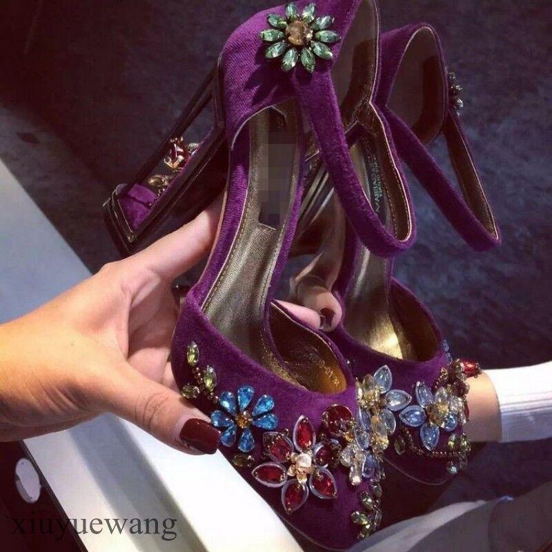 Donna High Block Heel Round Toe Rhinestone Ankle Strap Formal Formal Formal Clubwear scarpe Sz 308542
