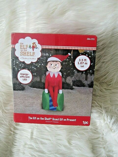 Gemmy 3 5 Ft Led Inflatable Elf On Present Outdoor Christmas Decorations