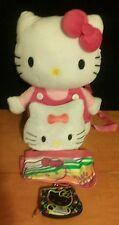 HELLO KITTY 4 pc lot BACK PKchange purse, make-up bag/pencil case&STUFFED KITTY