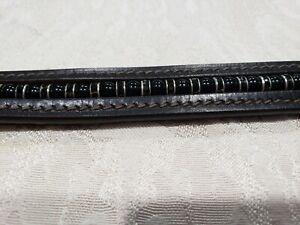 En Cuir Marron Bracelet Avec Onyx Perles & Cristal Noir Rondells-afficher Le Titre D'origine