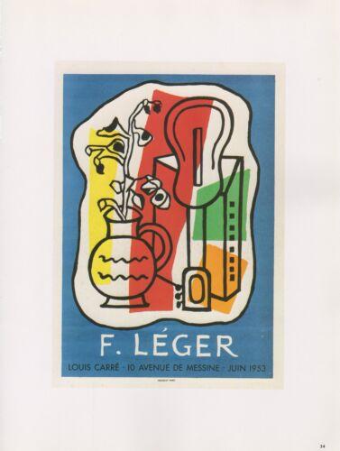 """LEGER/"""" LOUIS CARRE GUITAR MOURLOT MINI POSTER COLOR Lithograph 1989 VINTAGE /""""F"""