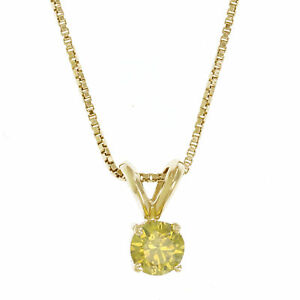 d132066e1263a IGI Certified I1 0.28 CT Yellow Diamond Solitaire Pendant With Chain ...