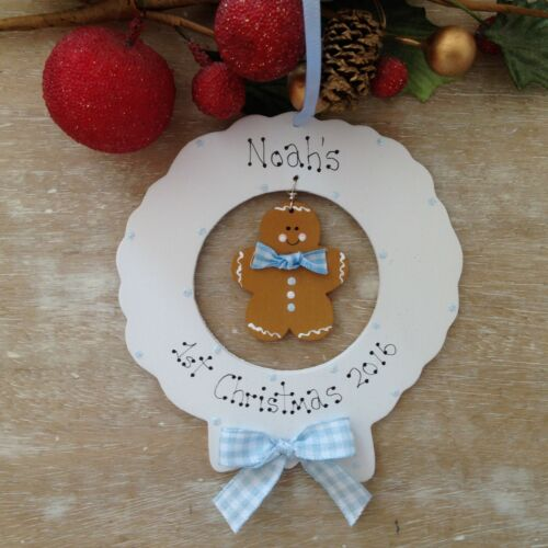 Baby/'s 1st First Christmas Tree Wreath Personalised Ornament Bauble Gift Present
