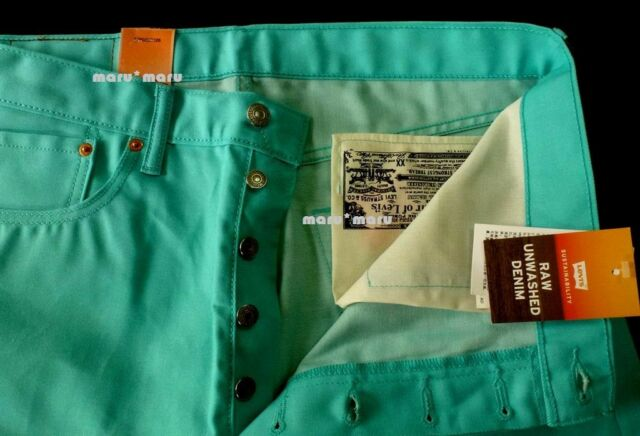 70 Mens Levis Classic 501 Shrink To Fit Teal Blue 36x31 Raw Denim