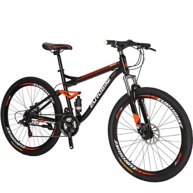 Eurobike S7 27 5 Mountain Bike 21 Speed Full Suspension Mens Bicycle Medium  MTB