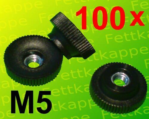Feststellmutter Gewinde Stahl verzinkt 100x Rändelmutter M5 Ø20mm Kunststoff