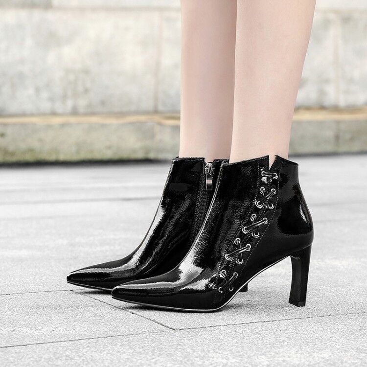 Women Pointy Toe Zip Ankle Boots Patent Leather Lace up Tie shoes Booties 2.5-6