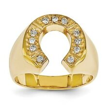 Horseshoe Ring 14K Gold White or Yellow Gold 0.28 Carat Diamond Cowboy Cow Boy