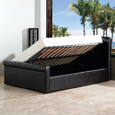 AMAZING FAUX LEATHER SIDE GAS LIFT OTTOMAN STORAGE BED - SLEIGH BEDSTEAD