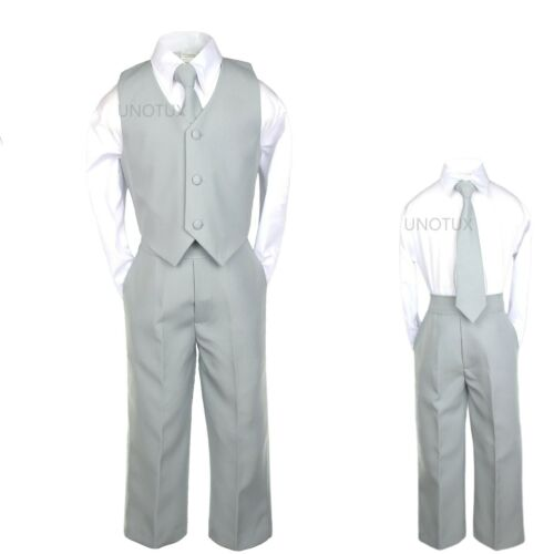 Baby Boys Toddler Teen Wedding Formal Party Vest Set Silver Gray Grey Suits