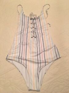 1be4973398df NWT Tavik Madewell Monahan Lace-up One-piece Swimsuit Horizon Stripe ...