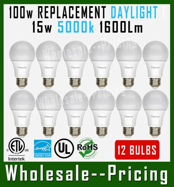 12 Bulbs Maxlite 15W LED Light Bulb Daylight 5000K A19 E26 Base Dimmable 1600L