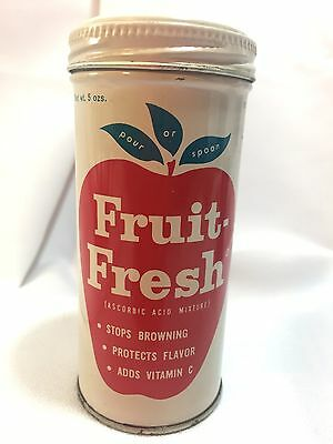 VINTAGE ADVERTISING METAL SPICE TIN CAN FRUIT FRESH COLORFUL Contains Product