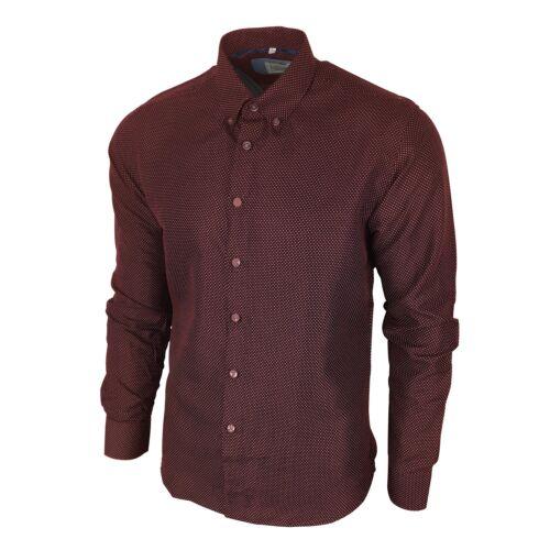 Men/'s Mini Pois Pointillée Chemise à manches longues Slim Doux Soyeux bordeaux rouge foncé