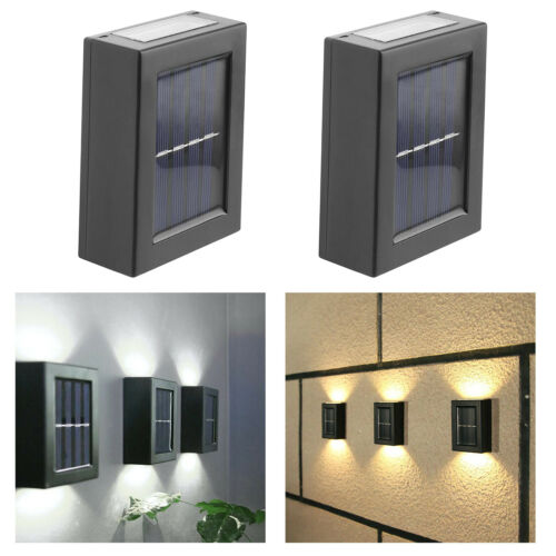 LED Solar Powered Wall Light UP and Down Outdoor Patio Sensor Lamp Decor