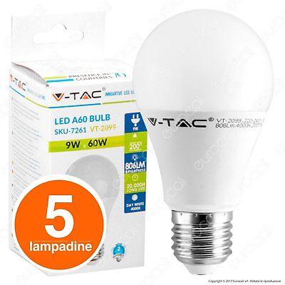 5 LAMPADINE LED V-Tac Bulbo E27 da 9W a 20W Lampade Luce Calda Naturale Fredda