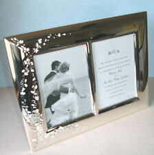 """Kate Spade GARDNER STREET Double Photo Invitation Frame Two 5x7"""" Silverplate New"""