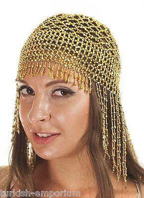 Cleopatra Beaded Belly Dance Headpiece Headwear Cap Hat Fancy Dress Costume NEW