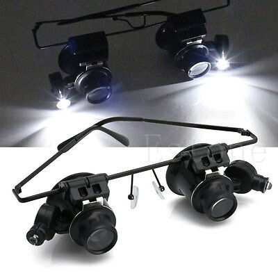 20X Magnifier Eye Glasses Jeweler Loupe Lens Magnifying Repair LED Light Watch