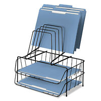 Fellowes Wire Double Tray W/step File 8 Comp Steel 13 7/8 X 10 1/8 X 14 Black