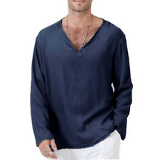 US Men/'s Flax Linen T-Shirt Casual V-Neck Long Sleeve Shirt Tops Tees Breathable