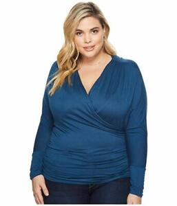 Kiyonna-Women-039-s-Top-Teal-Blue-2X-Femme-Faux-Wrap-Style-Made-In-USA-18-20
