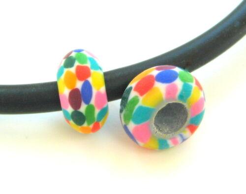 Fimo perlas rondellen 7,5x15mm grande agujero 10 unidades de polímero Clay beads serajosy