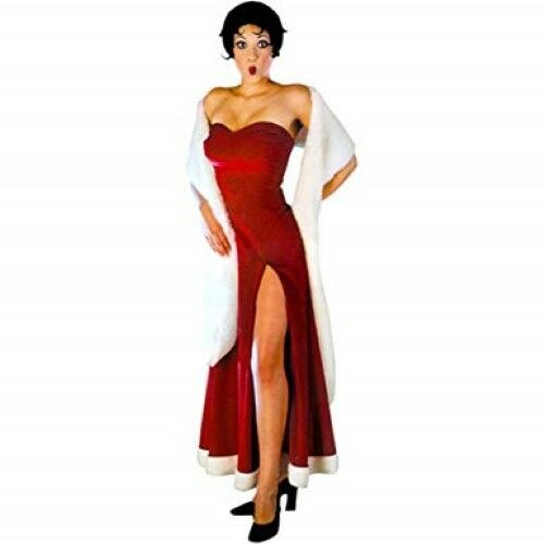 """Gown Red Velour & Wht Faux Fur Trim Strapless """"Bet"""