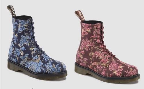 Doc Martens JOUY FLORAL Fine Canvas bluee or Cherry Red BECKETT Boots NWOT WMS