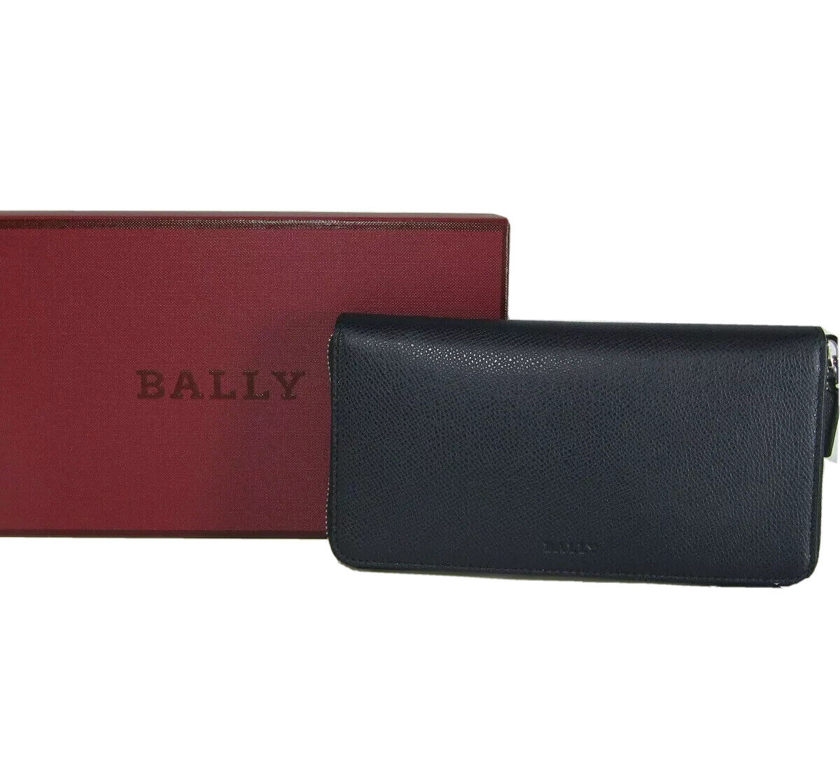 M-264967 New Bally Navy Bovine Embossed Leather Zip Around Leather Wallet