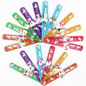 Rainbow Unicorn Snap Band Slap on Bracelet Silicone Wristband Party Bag Favours