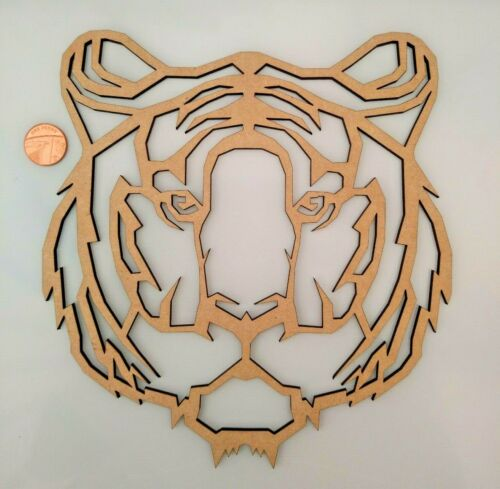 Laser Cut MDF Wood Geometric Tiger  Animals Rustic Craft Zoo
