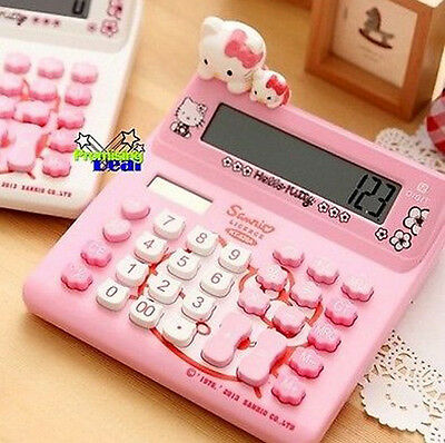 Cute Hello Kitty Basic Desktop Electronic Digit Calculator Pink