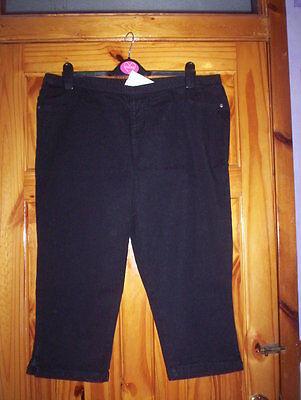 *** Vendita *** Nuovo *** Nero Ritagliata Jeans Taglia 20 Gratis P&p Uk Solo ***-mostra Il Titolo Originale