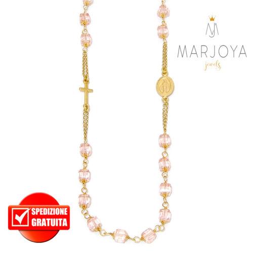 Rosario in argento 925,dorato,rosè,collana girocollo,cubetti swarovski colorati