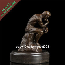 Signed Bronze Marble Artwork Statue Thinker Man Art Deco Sculpture