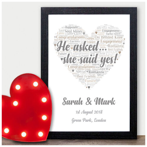 Engagement Gift Word Art Print Wedding Engagement Personalised Love Heart Gifts