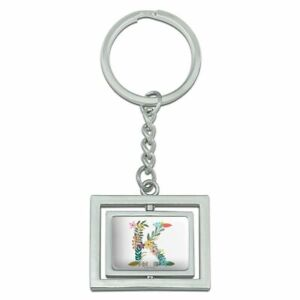 Letter K Floral Monogram Initial Rectangle Plated Metal Keychain Key Chain