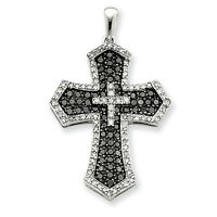 2.19 ct opaque Black & white round accent Sterling silve cross Pendant N R $ 321