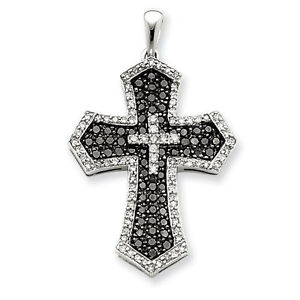 2-19-ct-opaque-Black-white-round-accent-Sterling-silve-cross-Pendant-N-R-321