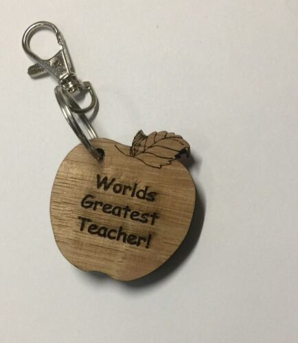 wooden 8mm solid oak key ring teacher apple laser varnished finish key fob gift