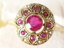 Antik Biedermeier Damenring Rosé Gold 585 rote Turmaline Perlchen Antikschmuck