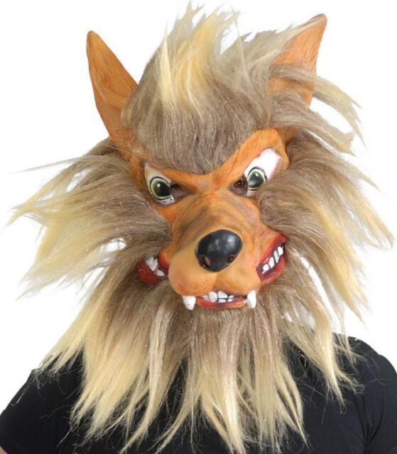 Adult Mens Scary Hairy Wolf Animal Halloween Fancy Dress Costume Mask Accessory
