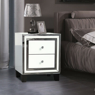 Mirage Mirrored Cabinet Bedside Table Glass Bed Side